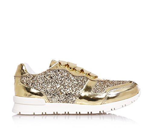 MISS GRANT - Chaussure à lacets dorée, en glitter et vernis, style élégant et très chic, coutures visibles, logo sur la languette et semelle en caoutchouc, Fille, Filles, Femme, Femmes