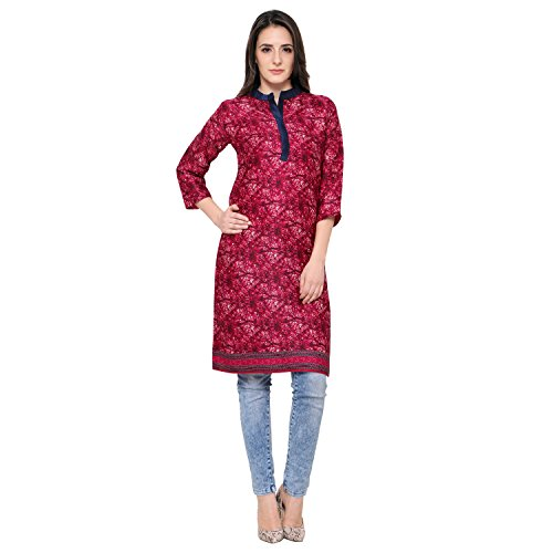 Eternal Women's Dark Pink Printed Pashmina Knee-Length Kurti With Pocket( TSFPS002-PINK_L, Dark Pink, Large)  available at amazon for Rs.279