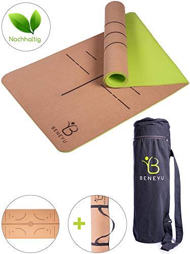beneyu® Schadstofffreie Yogamatte Kork - Wunderbar Leichte und Umweltfreundliche Yogamatte rutschfest inkl. Yoga Tasche und Tragegurt für Yogamatte - Yoga Zubehör (183 x 61 x 0,6 cm)