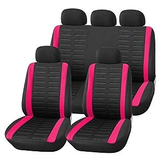 Upgrade4cars Auto-Sitzbezüge Set Pink Schwarz | Auto-Schonbezüge Rosa Universal | Auto-Zubehör Innenraum B1-pink