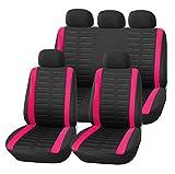 Upgrade4cars Auto-Sitzbezüge Set Universal Auto-Schonbezüge Schwarz Pink mit Seiten Airbag Öffnungen und Teilbarer Rückbank Auto-Zubehör Innenraum