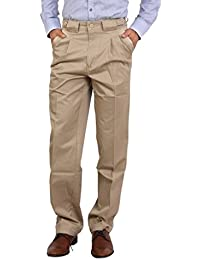 Bottom's Cotton Chinos Two Pleated Cartini Gold Colored Trouser For Men