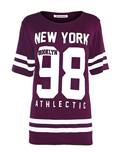 Janisramone Frauen Damen Baseball New York 98 Brooklyn Gestreifte Print überdimensional Ausgebeult T-Shirt Top