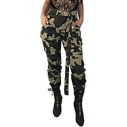 MORCHAN ❤ Femmes Camo Cargo Pantalons Pantalons Casual Militaire Armée Combat Camouflage Pantalon(S,Vert)