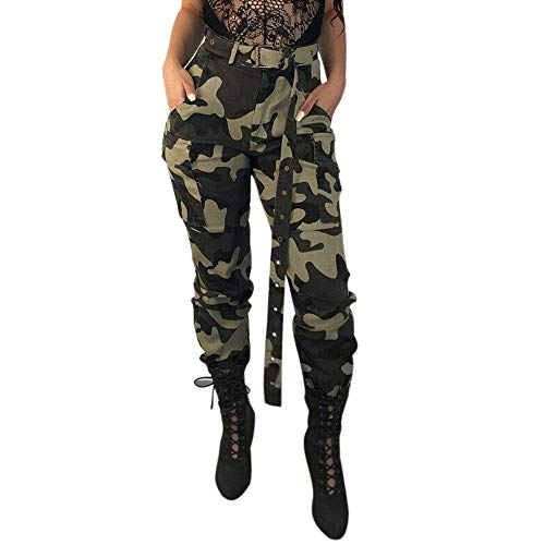 ITISME Jeanshosen Womens Camo Cargo Trousers Casual Pants Military Army Combat Camouflage PantsHerren Kurze Hose Bermuda Cargo Freizeitshorts (Large, Grün) Army Military Pants