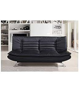 Furny Edo Double Seater Sofa Cum Bed Leatherette Black Amazonin