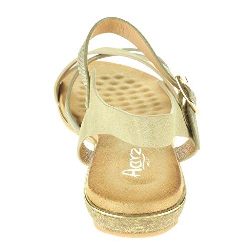 Frau Damen Atemberaubend Strand Schnalle Gurt Offener Zeh Sommer Beiläufige Komfort Flache Sandale Schuhe Größe Beige