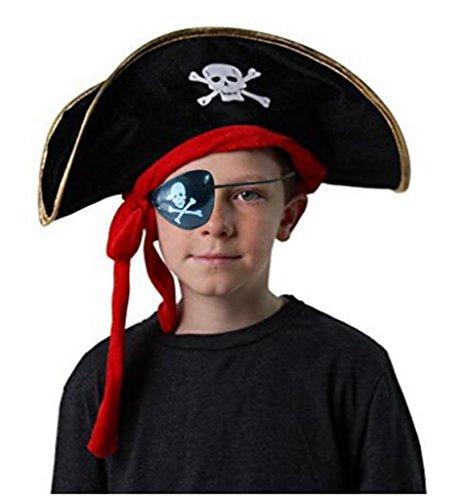 Piratenschädelhut Corsair Captain Cap Masquerade Party Halloween Cosplay Zubehör mit Augenaufnäher (Stil (Piraten Kinder Diy Kostüm)