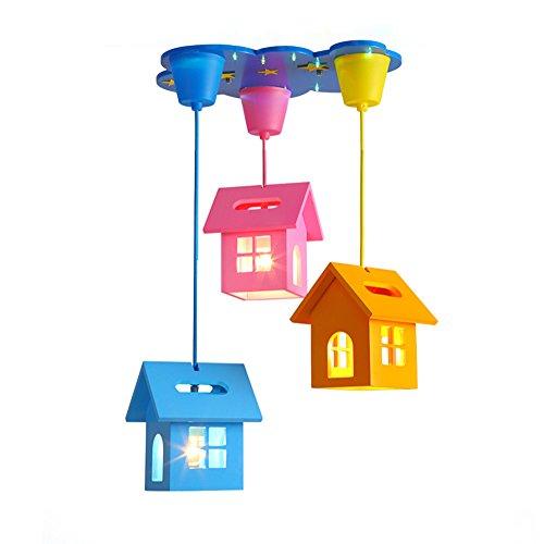 Tkind Moderne Pendelleuchte Hängeleuchte 3D Haus Form Kronleuchter Deckenleuchte Holz Persönlichkeit Stilvolle Kreative Lovely E27×3 Dekorative Beleuchtung für Mädchen Junge Kinder zimmer Babyzimmer Kindergarten Schlafzimmer(ohne Birne),Ø 47cm