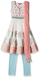 Biba Girls Salwar Suit (KW1809_Off White and Light Pink_5)