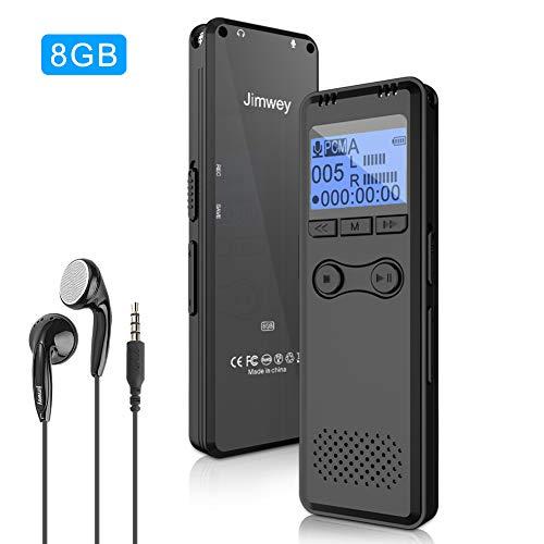 Jimwey Diktiergerät Digital 8GB Tonaufnahmegerät mit MP3 Player Spracherkennung Wiederholfunktion Aufnahme Kopfhörer für Interview, Spionage, Vorlesung, Konferenz