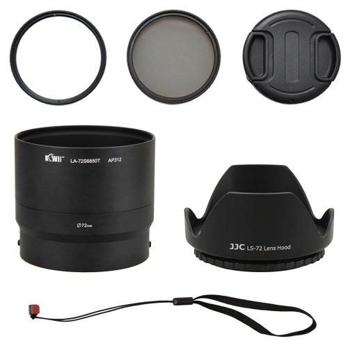 Kiwifotos Objektiv Zubehörset 6 teilig für Fujifilm FinePix S4600, S4700, S4800, S6600, S6700, S6800, S6850 mit Objektivadapter, UV Filter, Polarisationsfilter, Gegenlichtblende, Objektivdeckel, Objektivdeckelhalter