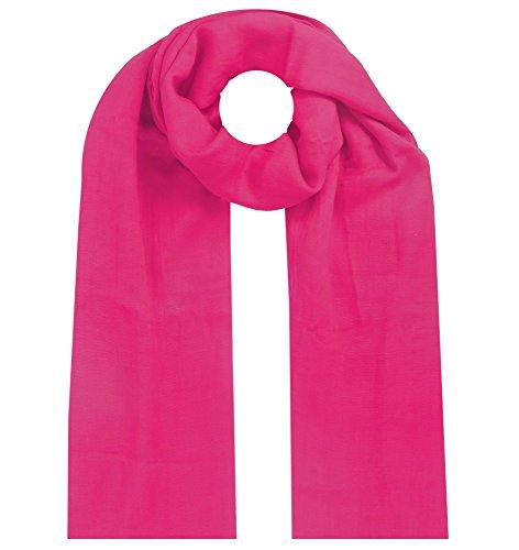 Lovely Lauri Damen Schal Tuch Baumwolle Leinen Einfarbig Pink