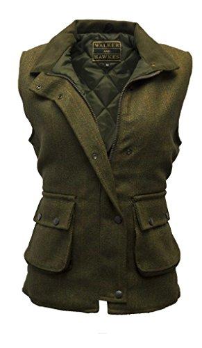 Damen Country-Weste aus Tweed - für die Jagd geeignet - Dunkles Salbeigrün - Größen 34 bis 50