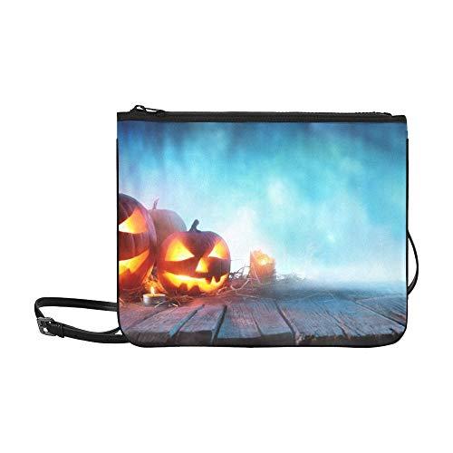 WYYWCY Halloween-Kürbisse auf Holz Spooky Forest benutzerdefinierte hochwertige Nylon dünne Clutch-Tasche Umhängetasche Umhängetasche