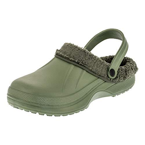 2Surf Gefütterte Herren Clogs Garten Winter Schuhe Pantoffel in vielen Farben M484gn Grün 42 EU