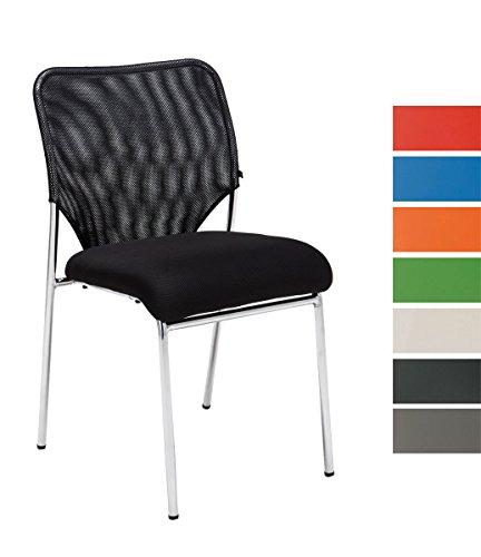 CLP Stapel-Stuhl KLINT, Konferenzstuhl / Besucherstuhl, Netzbezug, gut gepolsterter Sitzfläche schwarz