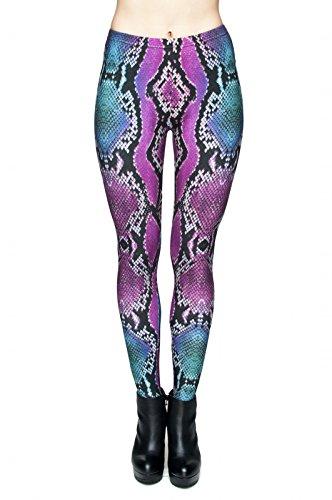 TRVPPY Leggings Gym Workout Sports Wear Hose Yoga Pants Training Fitness Fashion Print Hipster, Modell Pink Snake Schlangen Print