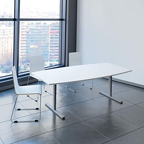 EASY Konferenztisch Bootsform 200x100 cm Weiß Besprechungstisch Tisch, Gestellfarbe:Silber
