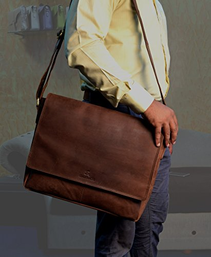 Leaderachi Real Vintage Hunter Leather 35 Ltrs Muskat Shoulder Laptop Messenger Bag