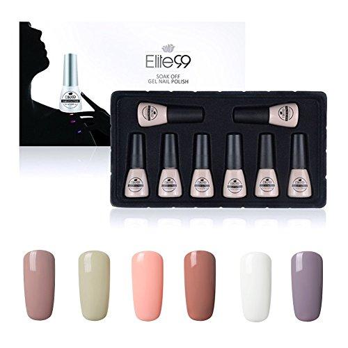 Elite99 Lot de 8 vernis à ongles semi-permanents effet gel avec base et top coat 7ml C009
