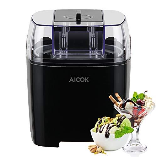 Aicok Sorbetière Électrique 1,5L Machine à Glace Sorbetière Refrigerante Pour Crème Glacée, Sorbet et Yaourt Glacé Avec Bol Congelé et Minuteur Programmable, Sans BPA, Noir