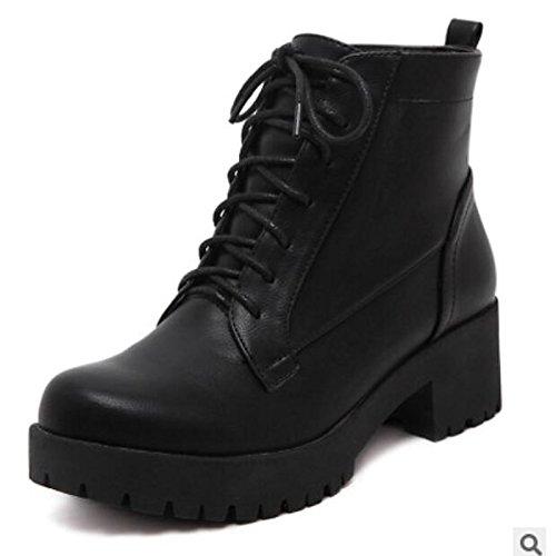 HSXZ Scarpe donna pu Autunno Inverno Comfort stivali Chunky tallone punta tonda Babbucce/stivaletti di abbigliamento casual nero Black