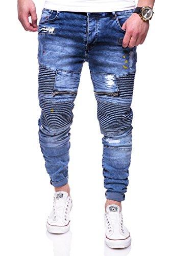 MT Styles Biker Jeans Slim Fit Hose RJ-3222 [Blau, W30/L32]