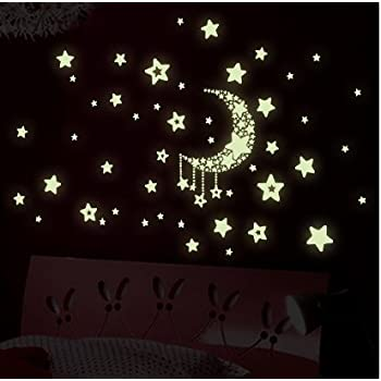 Night Time Fluorescent Kids Wall Stickers   Glow In The Dark Stars And Moon Part 83