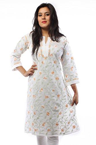 Lucknowi Chikankari Handmade Exclusive Designer Womens Ethnic White Kurti By Ada A57398