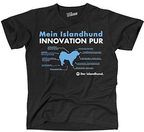 Siviwonder Unisex T-Shirt INNOVATION ISLANDHUND TEILE LISTE Hunde lustig fun Schwarz