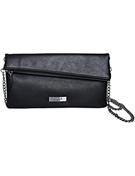 tragwert. Clutch Tasche Damen in schwarz - kleine Handtasche LEA aus veganem Leder - Mini Bag und Umhängetasche