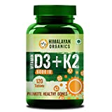 Himalayan Organics Vitamin D3 5000iu with K2 as MK7 100mcg supplement - 120