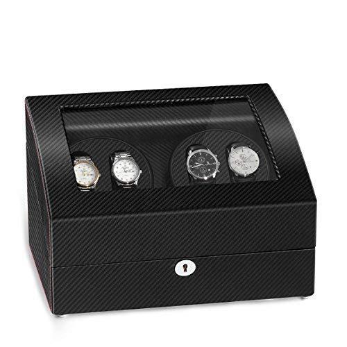 JQUEEN 4 Automatischer Uhrenbeweger und 6 Aufbewahrungsschachteln
