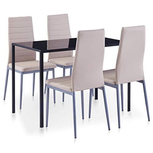 vidaXL Essgruppe 5-TLG. Esszimmertisch Esstischset Esszimmergarnitur Küchentisch Esszimmer Stuhl Tisch Sitzgruppe Esstisch mit 4 Stühlen Cappuccino-Braun