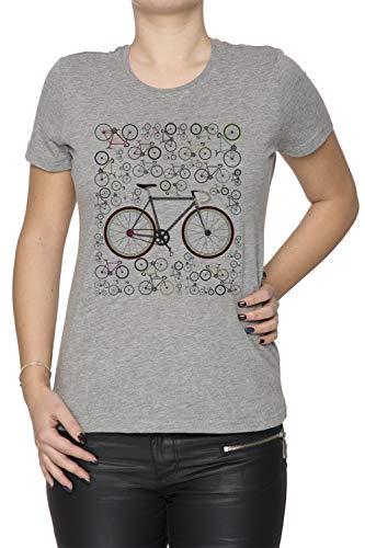 Erido Liebe Fixie Straße Fahrrad Damen T-Shirt Rundhals Grau Kurzarm Größe L Women's Grey T-Shirt Large Size L -