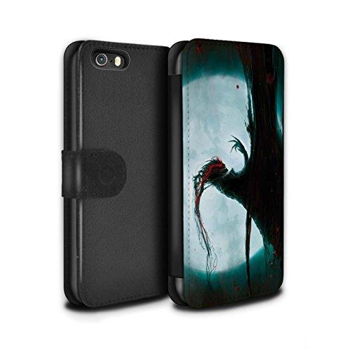 Offiziell Chris Cold PU-Leder Hülle/Case/Tasche/Cover für Apple iPhone 5/5S / Gehörnter Dämon Muster / Dämonisches Tier Kollektion Dramargu/Vollmond