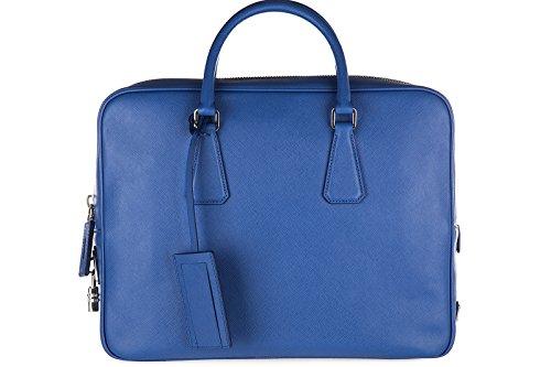 Prada-Aktentasche-Tasche-Dokumententasche-Laptoptasche-Leder-saffiano-travel-blu