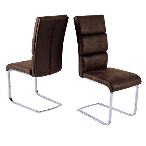4er-Set-Stuhl-NEW-YORK-Schwingstuhl-Esszimmerstuhl-Freischwinger-Esszimmer-Schwinger-dunkelbraun