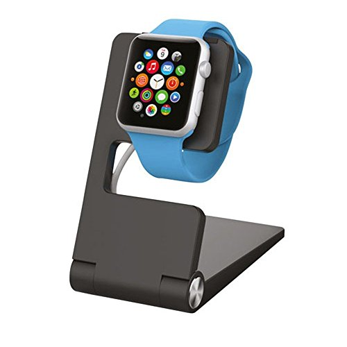 Kanex Apple Watch Aluminium Ladestation für Apple Watch Series 1, 2, 3 & Nike+ mit rutschfestem Boden für 38mm & 42mm Modelle