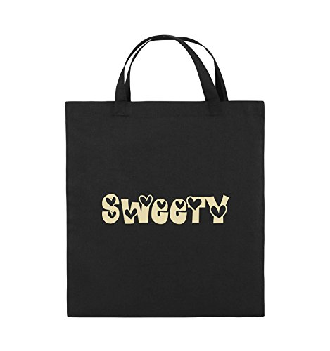 Comedy Bags - Sweety - HERZEN - Jutebeutel - kurze Henkel - 38x42cm - Farbe: Schwarz / Silber Schwarz / Beige
