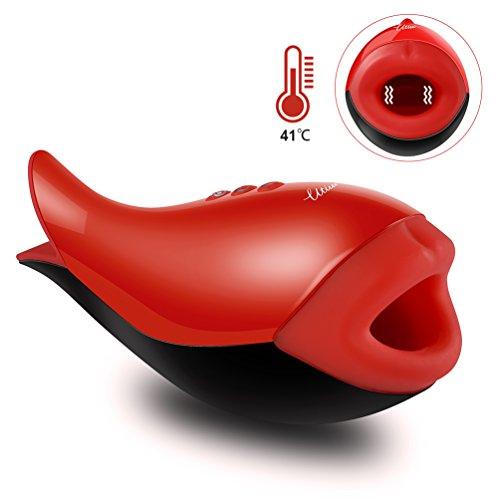 Utimi Masturbatoren Cup 10 Modi Männlicher Masturbator Wiederaufladbar Sexspielzeug mit Einzigartiger Form und Heizfunktion, Rot