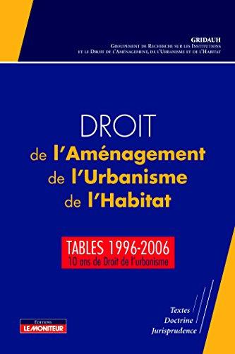 Droit de l'Aménagement, de l'Urbanisme, de l'Habitat - Tables 1996-2006