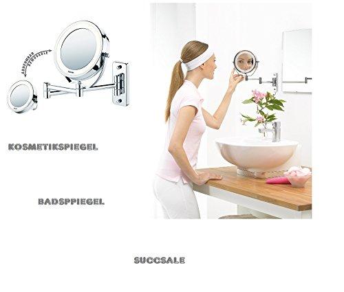 SUCCSALE- Hochwertiger Beleuchteter LED Spiegel-Hotespiegel-Friseurspiegel-Kosmetikspiegel-Badspiegel-5 Fach Zoom und 1:1 Ansicht-BESTSELLER 2017