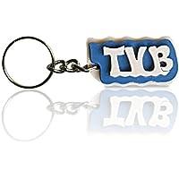 Portachiavi in legno con la scritta TVB colore celeste, fatto a mano, da indossare o per fare un regalo originale.