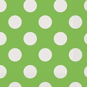 Unique Party- Paquete de 16 servilletas de papel a lunares, Color verde lima, 30423)