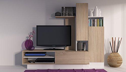 Trasman 8088 Wohnwand, melaminharzbeschichtete Holzspanplatte, eiche und weiß, 200 x 40 x 163 cm - 4