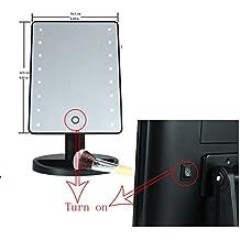 Xcellent Global Pantalla Táctil con 16 LED 180 grados de rotación. Espejo con luz para maquillaje y Cosmética Espejo de baño, Negro HG106