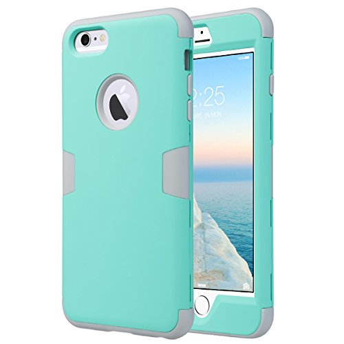 Cover iphone 6s plus, ulak custodia iphone 6 plus cover ibrida a protezione integrale con parte esterna in 3 strati di morbido silicone e interno rigido per iphone 6 plus / 6s plus 5.5 pollici(mint + grigio)