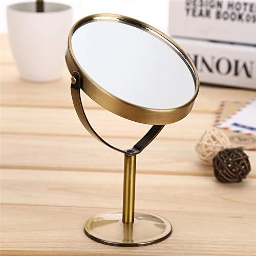 Dfgj specchietto da trucco bifacciale da tavolo per parrucchieri rotazione ovale rotante a specchio retro bronzo metallo specchio cosmetico ingrandimento 1: 2